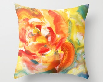 Yellow Rose Watercolor Throw Pillow Cover