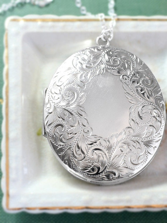 Extra Large Sterling Silver Locket Necklace Thick Puffed Oval