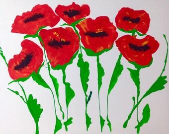 Red Poppy Garden Abstract Art Print
