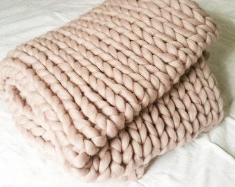 Knit blanket Chunky Knit Blanket Luxury Throw Merino Wool Blanket Home decor interior UK seller