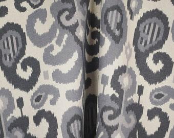 Rasul Steel 72062 Grey Ikat Fabric