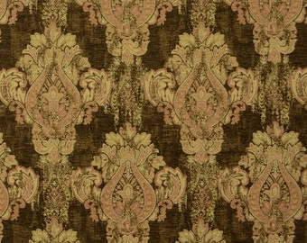 Mercola Chocolate Brown Damask Upholstery Fabric
