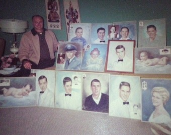 Vintage 60s Vernacular Snapshot photo: the PAINTER and his Portrait Art Paintings color