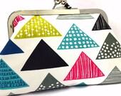 clutch purse - born to tri - 6 inch metal frame clutch purse - medium purse-triangle- pattern- colourful- clutch- purse - kiss lock clutch