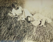 Vintage Summer Photo - Man & Woman Lying on Long Grass