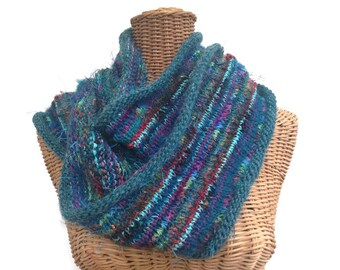 Teal Infinity Scarf Knitted Wool