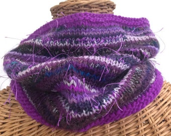 Knit Purple Cowl Wool Scarf Textured Neck Warmer Blended Yarn Hand Tied Art Yarn FUSION Yarn Hand Knit One Size Boutique Style