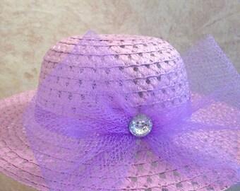Girl's Lavender Straw Hat - Easter Hat - Derby Hat -