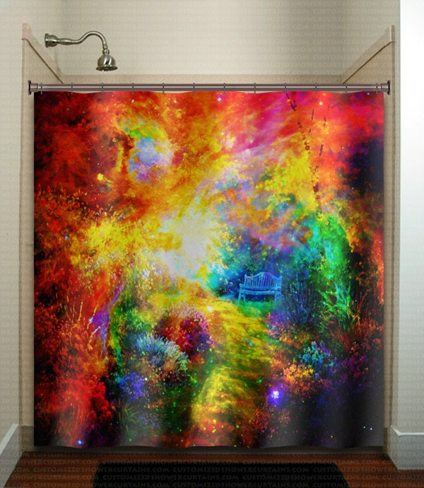 Watercolor galaxy path bench in outer space garden shower for Outer space gardens