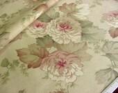 Soft Blush Pink Roses Decorator Fabric -MMI Decorative Design Original -Cottage Floral Flowers Sage Green Beige Drapery Cotton OOP