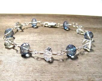 JEWELRY CLEARANCE Blue Topaz Bracelet,  White Topaz,  Mystic Blue Topaz,  Handmade Bracelet in Sterling Silver, On Sale