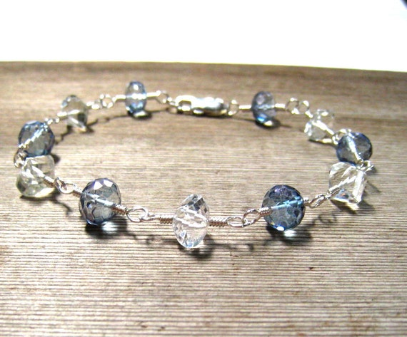 JEWELRY CLEARANCE Blue Topaz Bracelet,  White Topaz,  Mystic Blue Topaz,  Handmade Bracelet in Sterling Silver, On Sale