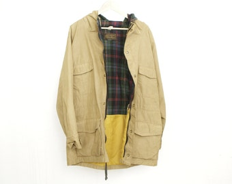 WOOLRICH style 80s PARKA pacific northwest two tone HOODED jacket flannel lined coat