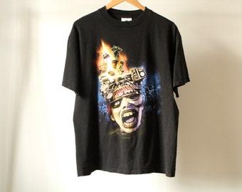 90s PRIMUS rock punk alternative Les Claypool tour black MTV vintage men's t-shirt united states faded psychedelic trippy shirt