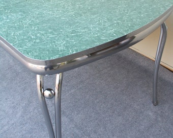Vintage Green Formica and Chrome Table