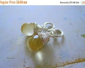 20% OFF ON SALE Golden Citrine Sterling Silver Wire Wrapped Briolette Dangle, 1 pc, Gemstone Beads, November Birthstone