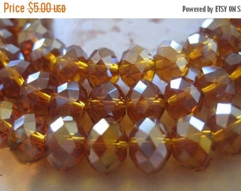 "20% OFF ON SALE 16"" long ( 72 pcs) Gold Brown Chinese Crystal Ab Faceted Rondelle 8mmx4mm Beads"