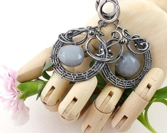 Wire wrapped silver earring, gray moonstone earring, luxury gemstone jewelry, dangle statement earring
