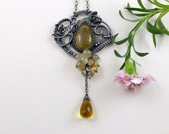 Wire wrapped necklace, gold yellow necklace, bold gemstone jewelry, statement jewelry, sterling silver jewelry, luxury jewelry