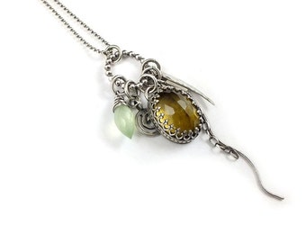 Citrine necklace,  gemstone fun pendant, sterling silver jewelry