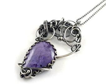 Wire wrapped necklace, charotie silver jewelry,  fine wirework jewelry, gemstone pendant