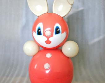 Vintage Roly Poly Ding Doll - Roly Ploy Toy Hare - Bunny Rabbit Nevalyashka - 40cm - Light Red - 1970s - from Russia / Soviet Union / USSR