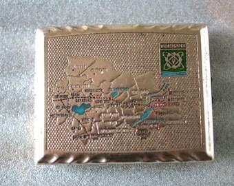 Vintage Cigarette Case / Business Card Holder / Metal Wallet - Novosibirsk- from Soviet Union / USSR