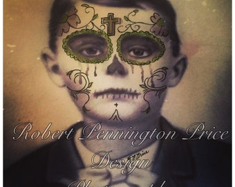 Day of the Dead / Sugar Skull Altered Art Photography/ Mixed Media Painting / Victorian Death Mask  / Robert Price