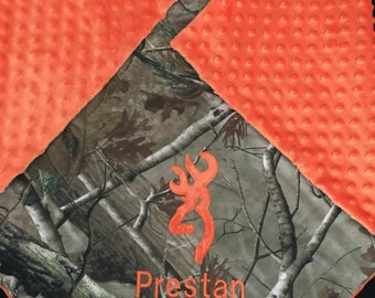 Personalized Camo Baby Boy Antler Deer Quilt Real Tree Mossy Oak RealTreeMax5 Hunting Real Home Cominghome Monogrammed Minky Blanket