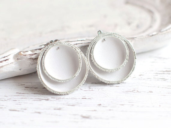 White leather circle earrings, Geometric Leather Earrings, lightweigh earrings, boho tribal earrings, gift for her