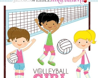 SALE Girls Volleyball Cute Digital Clipart - Commercial Use OK - Volleyball Graphics, Volleyball Clipart - INSTANT Download