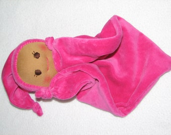 Blanket Baby Doll - Security Blanket Doll -  Baby Doll in Velour - in Hot Pink- RTG