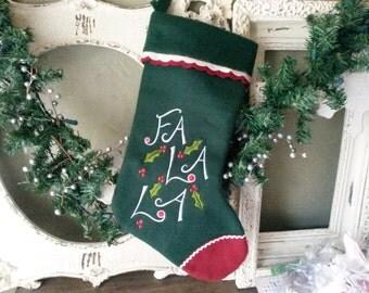 Vintage Christmas stocking felt fabric stocking Fa La La green stocking vintage christmas home decor
