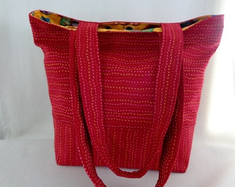 Medium Tote, Knitting BAG, Diaper BAG, Medium Work Purse, Shopping Bag, Red Upholstery, Cats