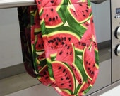Double Oven Mitt - watermelon all over red/pink and green