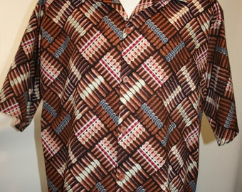 Hand made Aloha style Cigar shirt in Size Extra Large (XL)