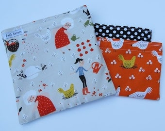 Reusable Sandwich Snack Bag Set Chickens Polka Dots Gardening Eco Friendly Bags