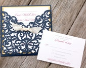 CARRIE - CUSTOMIZED SAMPLE Shimmering Navy Blue Laser Cut Folder with Gold, Burgundy Wine Purple and Cream or White Wedding Invitation