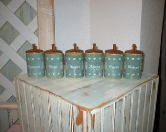 six sweet Danish modern dusty turquoise stoneware spice jars with teak tops 1950's  ~ beauties ~