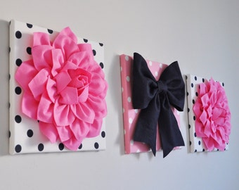pink navy u0026 white wall decor flowers and navy bow on polka dot 12