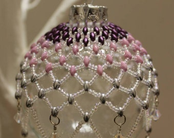Beautiful beaded bauble in purple, pink and silver with swarovski accents, heirloom, Christmas gift