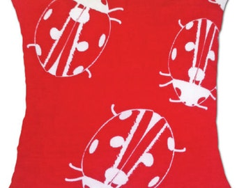 Red and White Ladybug Cushion Cover