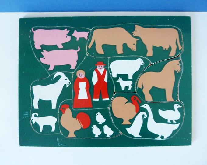 Vintage wooden farm puzzle