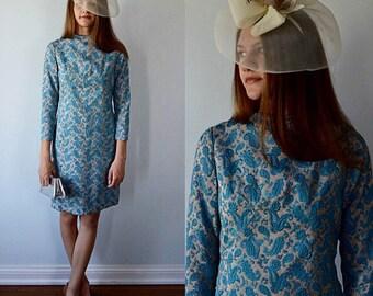 Vintage Dress, 1960s Dress, Blue and Champagne Dress, Silver Shimmer Brocade Dress, Evening Dress, Wedding, Party Dress, Vintage Dresses