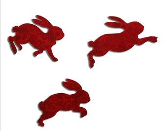 Retro Rabbits. Bunnies in red vintage wallpaper