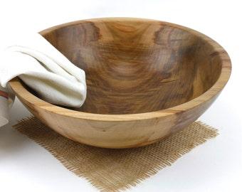 "Wooden 12 1/2"" Sweet Gum Salad Bowl / Wooden Serving Dish / Pasta Bowl"