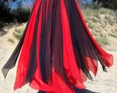 Ameynra Belly Dance costume petal skirt, Red-black, Size S, OOAK