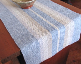 Rustic French Country Farmhouse Home Decor Table Runner, Shabby Seaside Coastal Beach Cottage Chic, Hand Woven Natural Beige Aqua Blue Gray