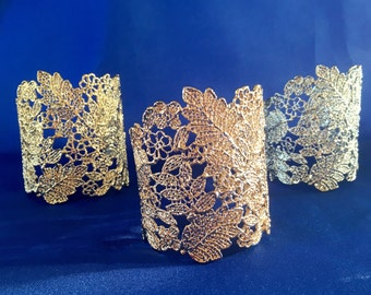 Gold Wedding Cuff, Gold Bridal Cuff, Gold Lace Bracelet, Gold Filigree Bracelet