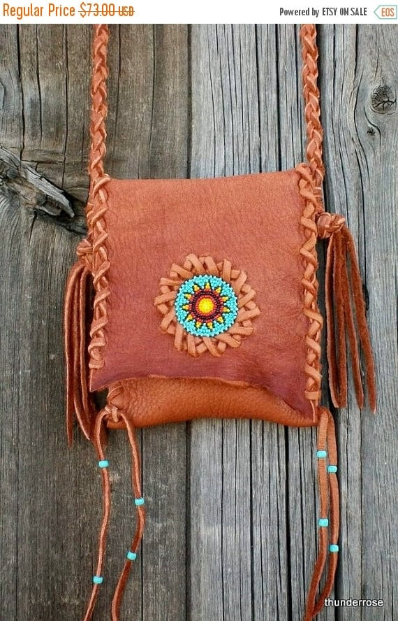 ON SALE Beaded leather handbag ,  Phone bag ,  Buckskin leather crossbody tote with beaded sunflower rosette